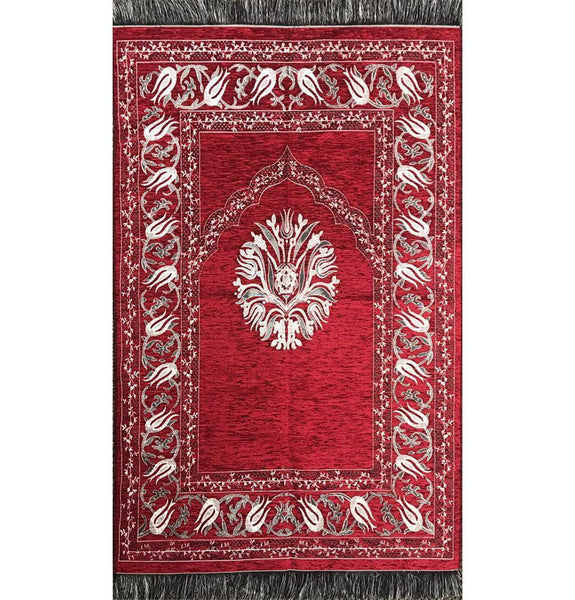 Chenille Tulip Islamic Prayer Mat - Red