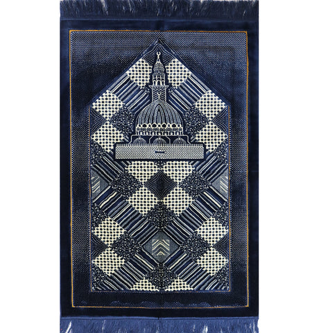 Lux Plush Regal Islamic Prayer Rug -- Blue