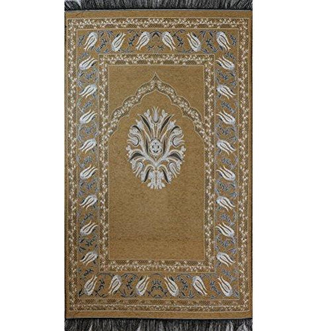 Chenille Tulip Islamic Prayer Mat Beige