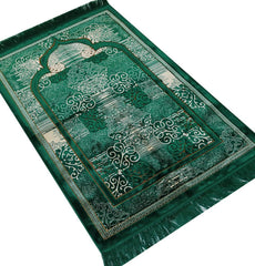 Plush Velvet Prayer Rug Elegant Swirl Green