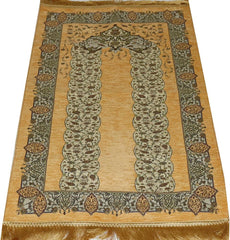 Chenille Embroidered Islamic Prayer Mat - Tulip Arch Beige
