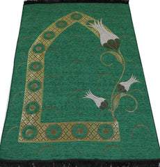 Chenille Islamic Prayer Mat - Tulip Green