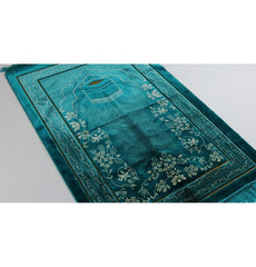 Double Plush Wide Islamic Prayer Rug - Kaba Turquoise
