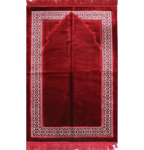 Lux Plush Regal Velvet Islamic Prayer Rug - Red