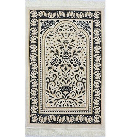 Marmara Velvet Islamic Prayer Rug - Black / Yellow