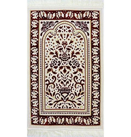 Marmara Velvet Islamic Prayer Rug - Red / White