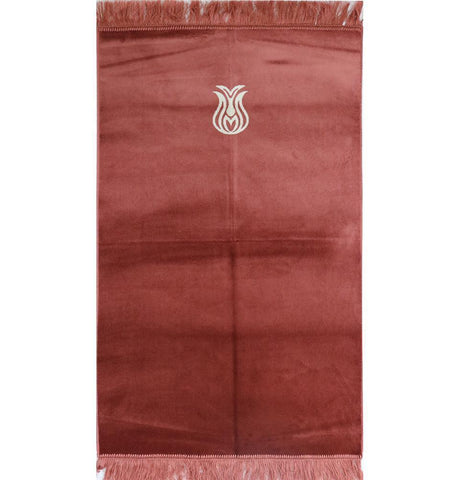 Solid Simple Velvet Prayer Rug with Tulip - Rose Pink