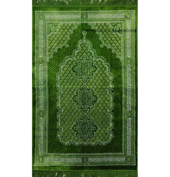 Ipek Velvet Prayer Rug - Geometric Floral Bright Green
