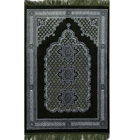Ipek Velvet Prayer Rug - Geometric Floral Green