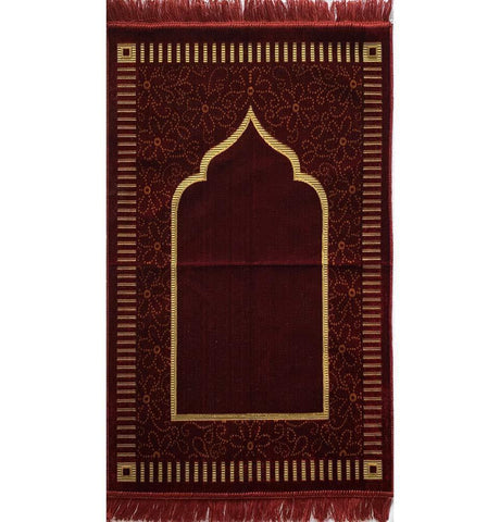 Velvet Floral Daisy Arch Islamic Prayer Rug - Red