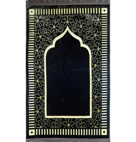 Velvet Floral Daisy Arch Islamic Prayer Rug - Brown