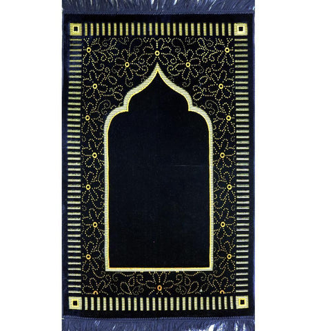 Velvet Floral Daisy Arch Islamic Prayer Rug - Navy Blue