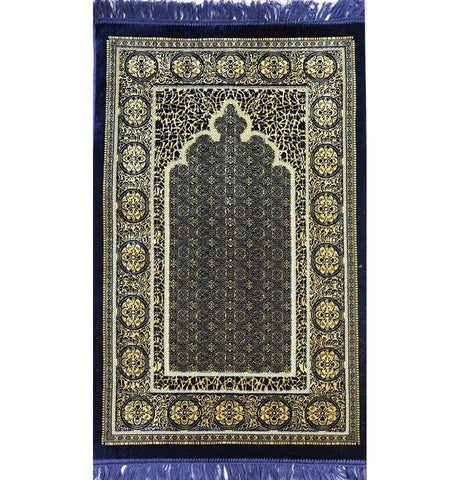 Velvet Floral Stamp Islamic Prayer Rug - Navy Blue