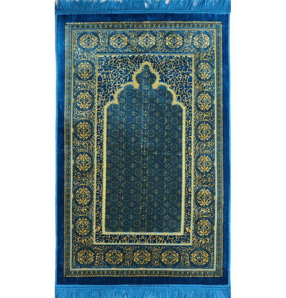 Velvet Floral Stamp Islamic Prayer Rug - Turquoise