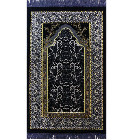 Velvet Wild Daisy Islamic Prayer Rug - Blue/Grey