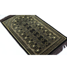 Velvet Geometric Arch Islamic Prayer Rug - Brown