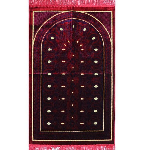 Velvet Geometric Arch Islamic Prayer Rug - Red/Blue