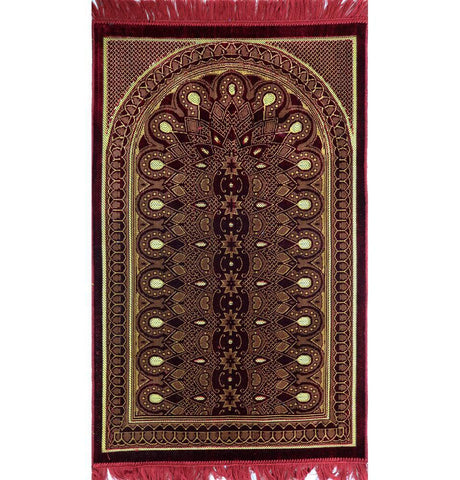 Velvet Geometric Arch Islamic Prayer Rug - Red/Yellow