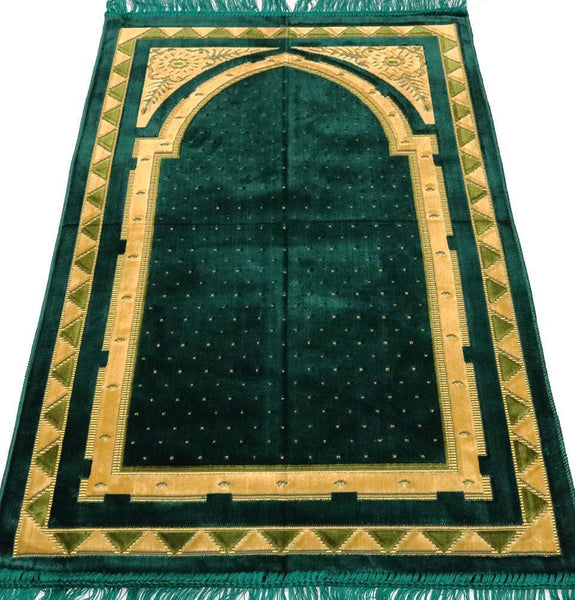 Velvet Islamic Prayer Rug - Geometric Floral Arch Green & Orange