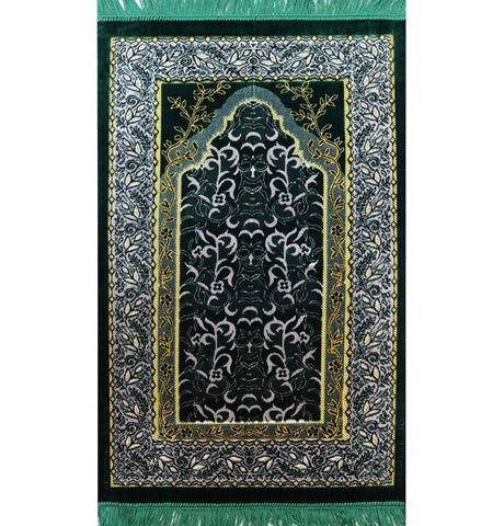 Velvet Wild Daisy Islamic Prayer Rug - Green/Grey