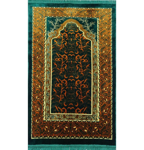 Velvet Wild Daisy Islamic Prayer Rug - Green/Orange