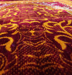 Velvet Wild Daisy Islamic Prayer Rug - Red/Orange