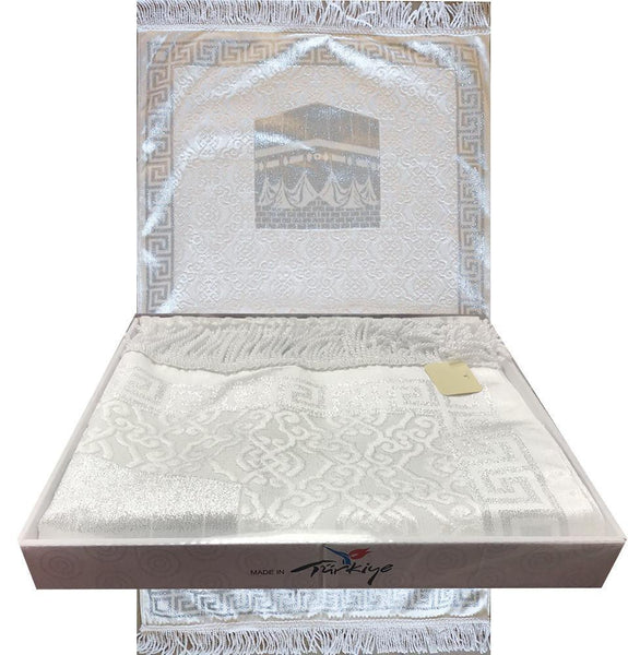 Luxury Thin Velvet Islamic Prayer Mat Gift Box Kaba White with Silver