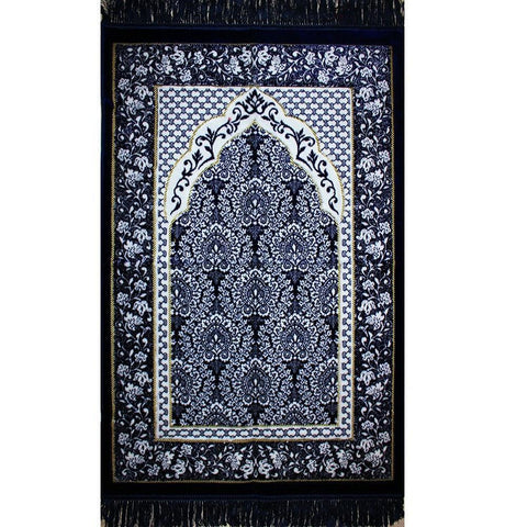 Modefa USA Prayer Rug Plush Ipek Islamic Prayer Rug Dark Blue Floral - Modefa