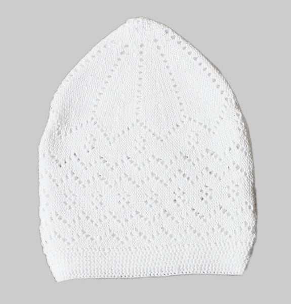 Men's White Knit Cotton Kufi Cap