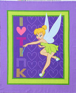 I love Tink  Tinkerbell Panel Cotton Fabric - I'm A Craftaholic