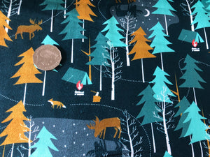 Moonlight Forest and Foxes Cotton Fabric