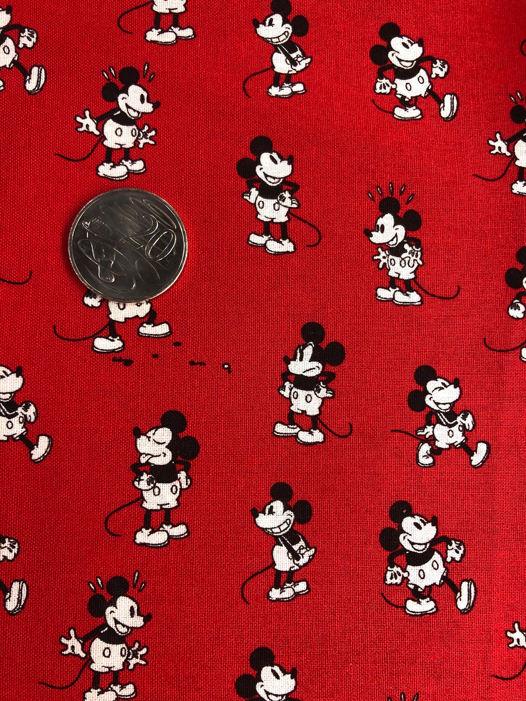 Mickey Mouse Retro Red Scatter Quilting Cotton