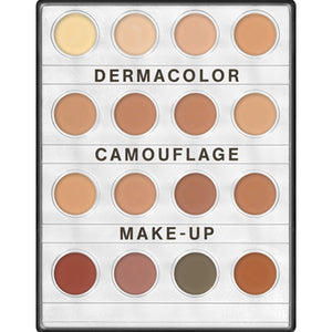 This handy, compact palette, contains 16 shades in harmonies to suit certain skin types (light, medium, dark etc.) with each palette containing a mixture of skin tones and some neutralising colours. The shades are inter-mixable allowing precise customisation and providing a more realistic, natural appearance when applied correctly.