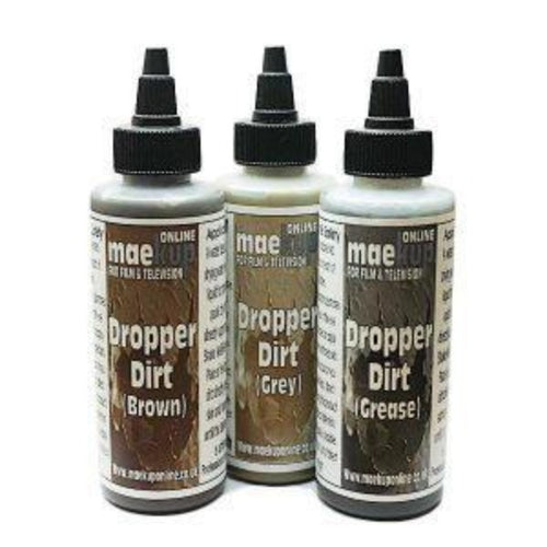 A water based liquid for producing water-resistant, rub-proof matt dirt effects on actors. Great if you have a lot of extras or children to cover where traditional grease based products may be easily removed. Will not transfer onto costumes once dry but not recommended for direct application to costumes unless a patch test is performed to check for suitability.