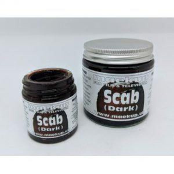 A quick drying, non-staining washable blood for producing aged matt scabs, scratches and dried blood effects directly upon the skin or wardrobe.