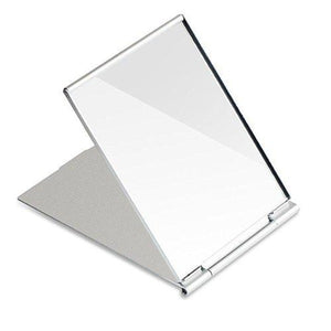 Folding stainless steel collapsible mirror.