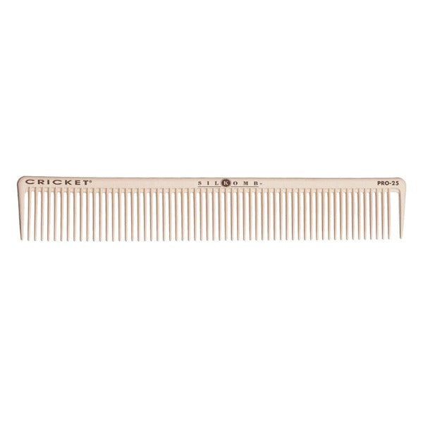 Pro25 multi-purpose comb.  Consistent tooth pattern provides even distribution with wider sectioning ability when cutting or applying semi-permanent hair colour.  Slightly longer teeth allow for maximum penetration.  Great for detangling curly hair.  Specially designed sectioning pick makes cutting and styling quicker and easier.
