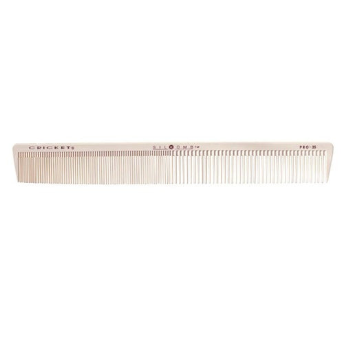 Pro35 long comb 212mm.  An extra long barber comb for quicker cutting and sectioning.  Provides even distribution for zero tension and allows a stronger direction with large sub-sections of hair.  Superb for waving at Marcel!
