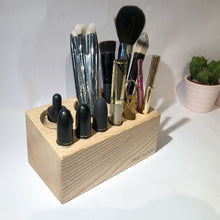 Load image into Gallery viewer, The Brushblock is handmade in the UK and supports your brushes and tools in a sustainable haven.  Made from Ash and Oak wood, sourced locally from sustainable timber yards making it an environmentally friendly option for your brushes and tools.