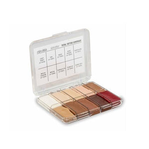 Jordane Cosmetics Total Tattoo Cover Mini Finishing Palette is an alternative to alcohol based palettes. Safe on skin, non drying and incredibly versatile it can be used to cover up and camouflage any skin problems such as blemishes, birthmarks, pigmentation, scars, under eye shadow, tattoos, etc. directly on the skin.