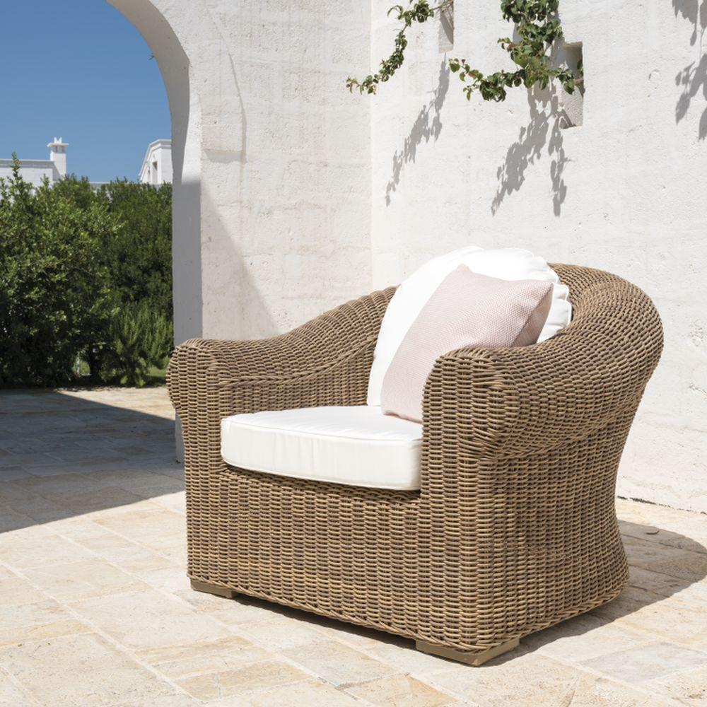 Luxurious Modern Woven Armchair | luxury garden armchair in natural colour | white beige