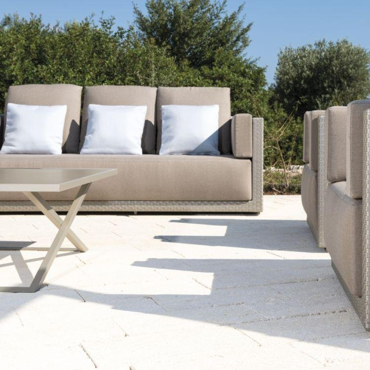 Minimal Rattan Garden 3 Seater Sofa | exterior 3 braided seated sofa in silver | aluminium and rattan | silver shimmer