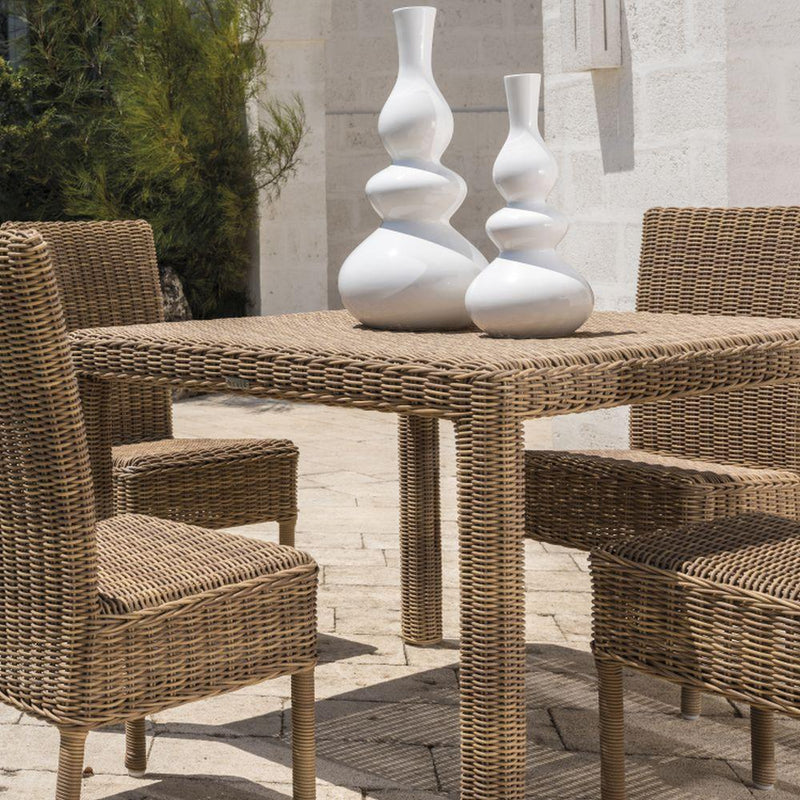 Chic Square Garden Dining Table | luxury outdoor natural rattan dinner table  | rattan exterior furniture