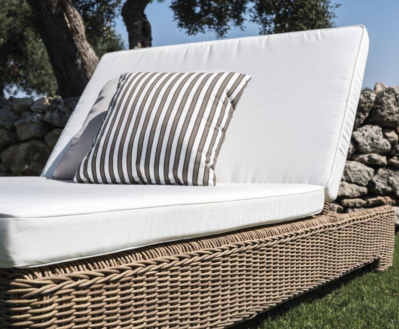 Chic Rattan Double Sunbed | high end exterior two seater woven sun lounger | white beige