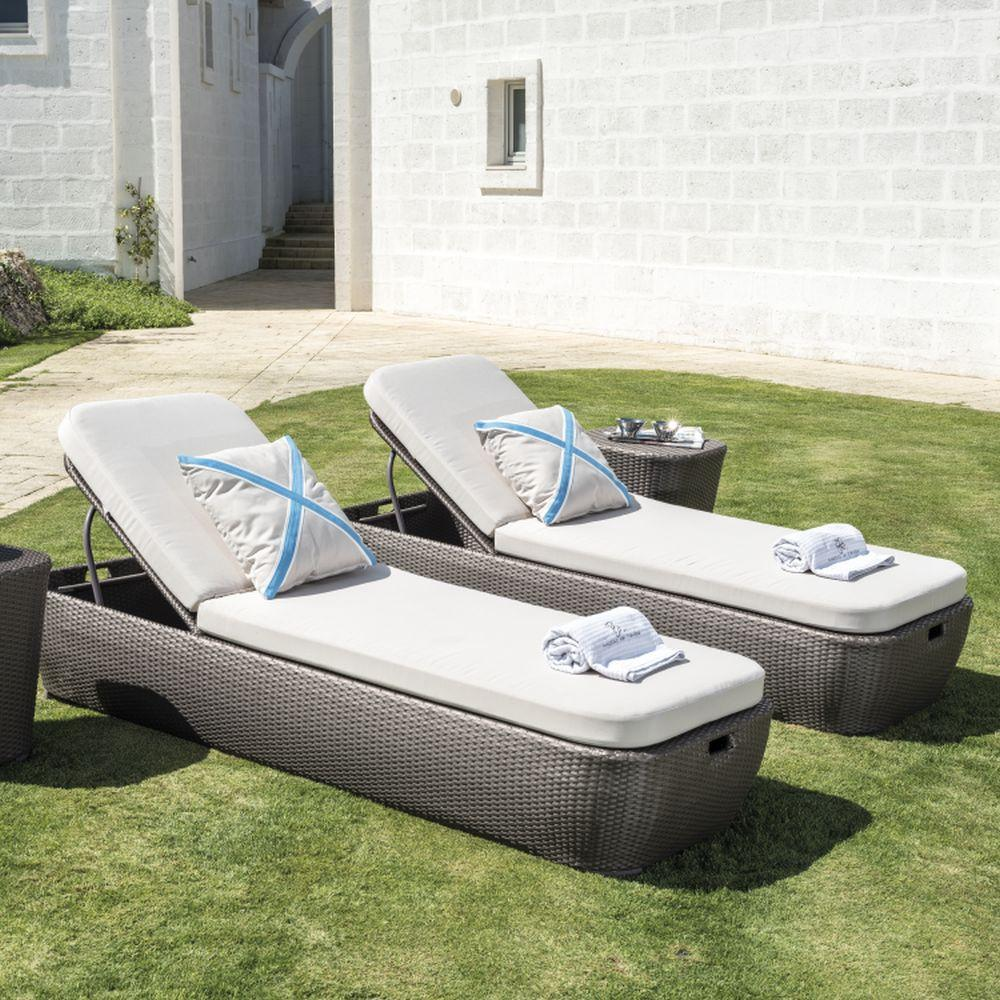 Luxury Simple Brown Rattan Sun Lounger | modern luxury cushioned sunbed for sale | brown taupe