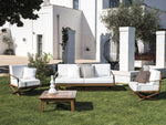 Modern Wooden Frame Garden Amrchair | high end simple outdoor armchair | white black | glossy matt