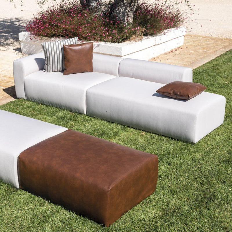 Modern Fabric Left Arm Chaise Longue | simple exterior large modular garden chair | leather or outdoor fabric | black brown white beige