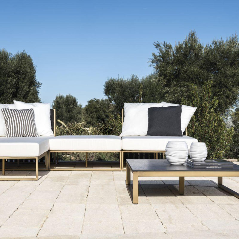 Outdoor Aluminium Linear Pouffe | minimal metal foot stool or ottoman | modular furniture | gold black white taupe