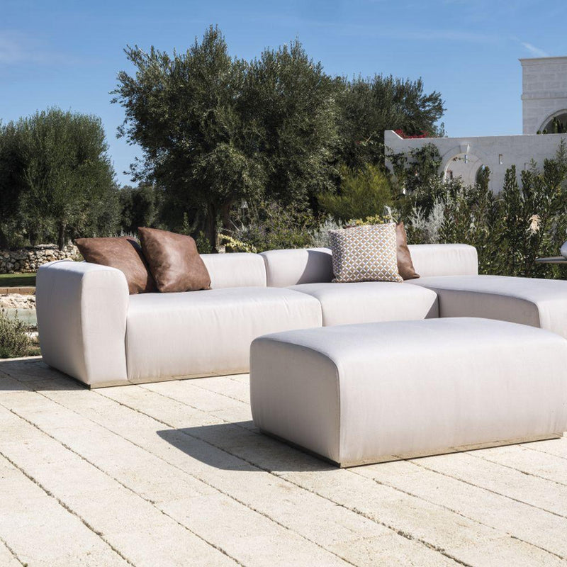 Simple Sleek Outdoor Fabric Pouffe | minimal fabric luxury foot stool | modular furniture | leather/ fabric | black brown white beige