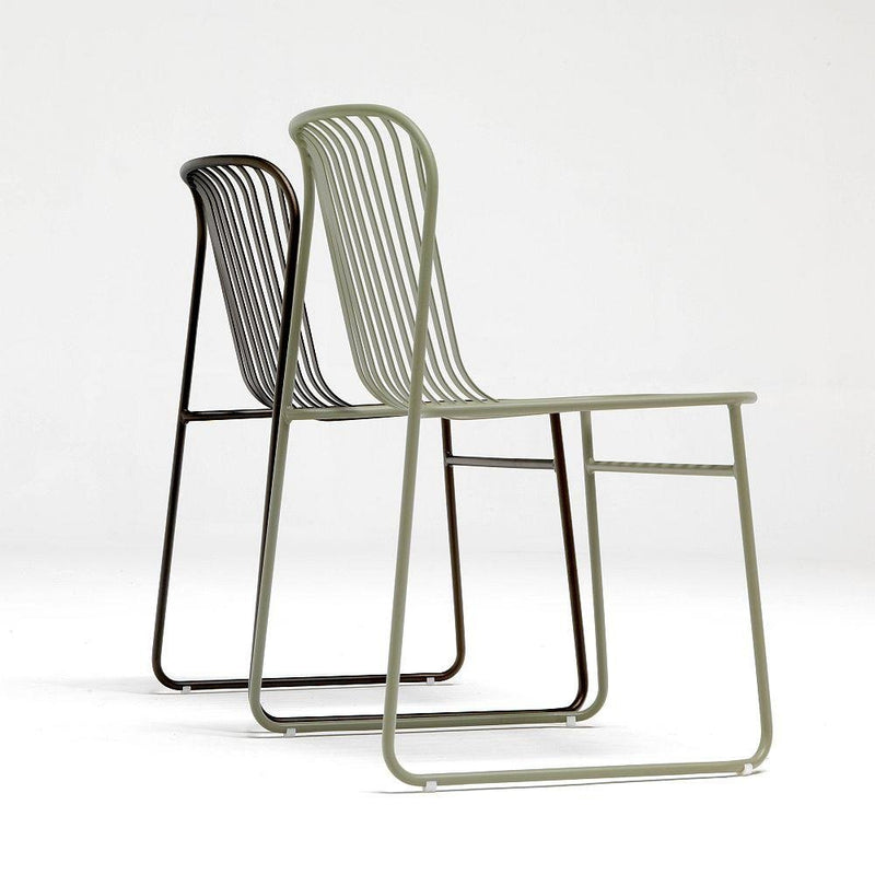 Simple Striped Exterior Dining Chair | Modern Patio Garden Chair